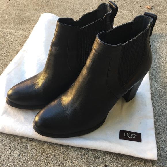 9de1e1c4d89 UGG Cobie II Leather Heeled Ankle Boots - Black